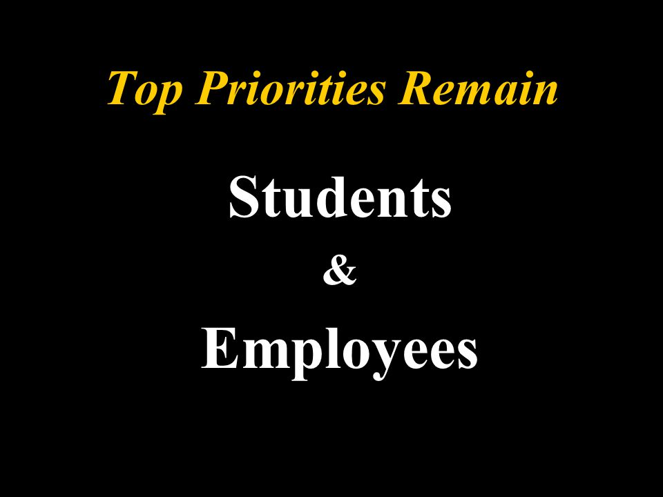 Top Priorities Remain Students & Employees