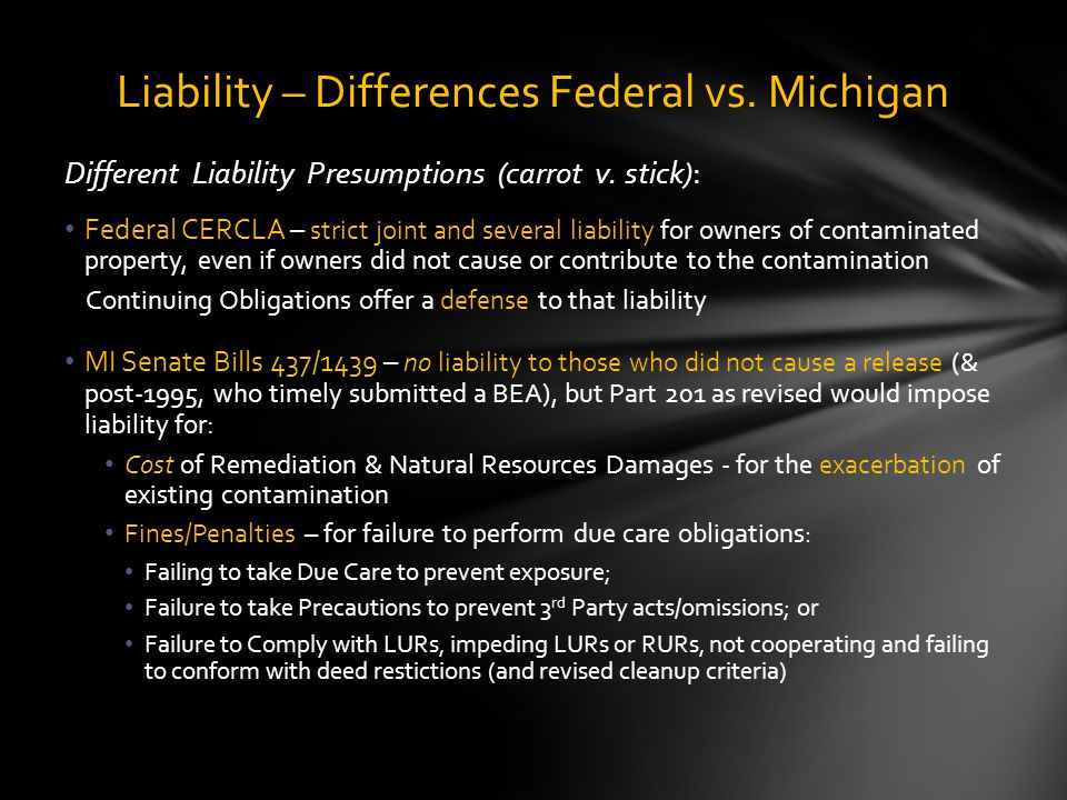 Different Liability Presumptions (carrot v.