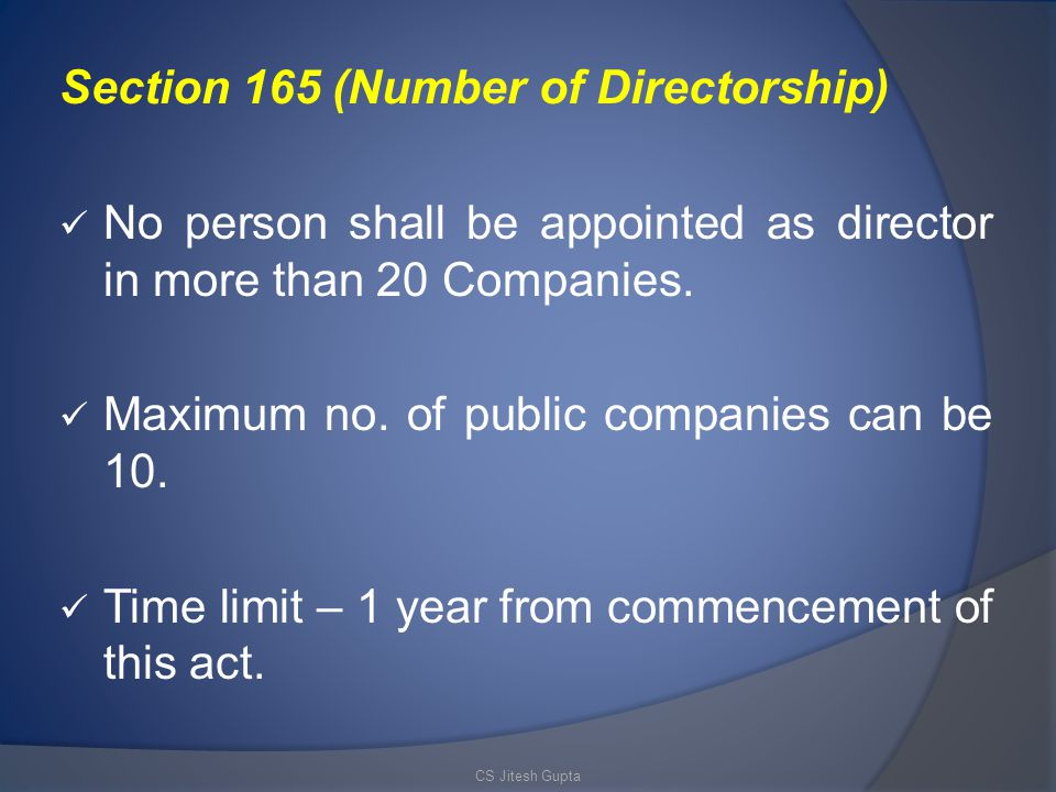 Section 165 (Number of Directorship) No person shall be appointed as director in more than 20 Companies.