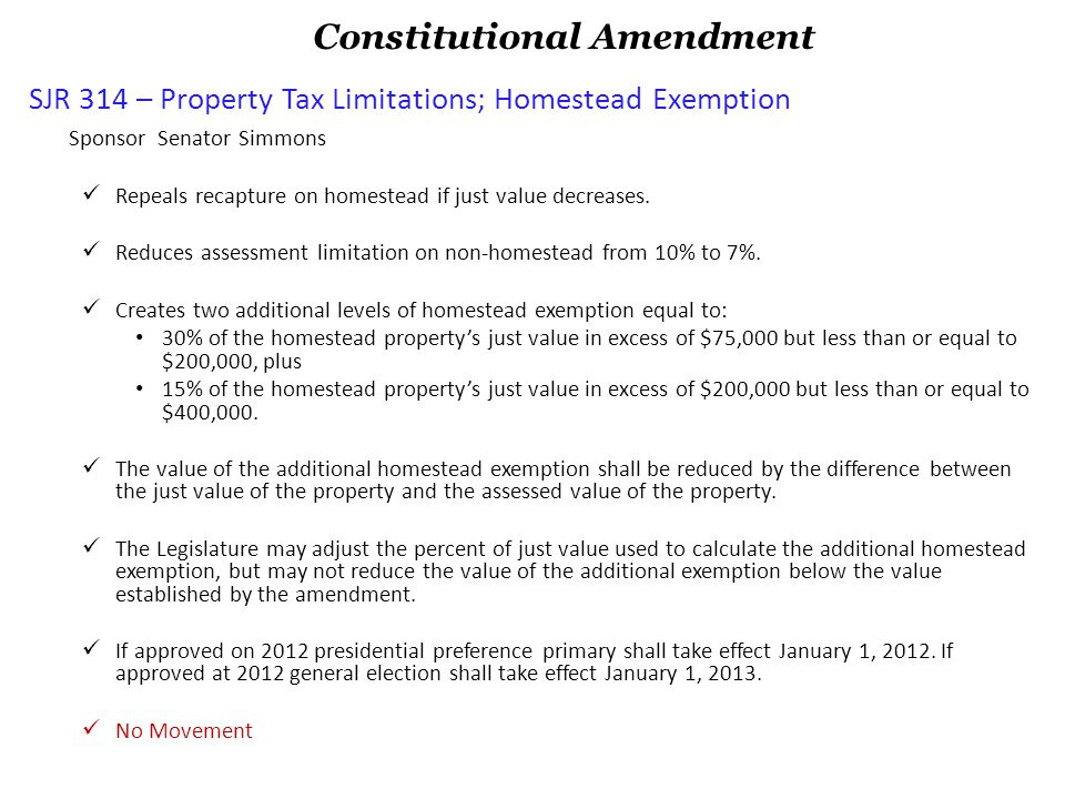 CS/SB 156 – Assessment of Residential and Non-homestead Real Property Sponsor Senator Latvala HB 133 – Assessment of Residential and Non-homestead Real Property Sponsor Representative Frishe, Co sponsor Representative Berman Energy Bill Implementing language for Constitutional Amendment 3 entitled Improvements not Affecting the Assessed Value of Residential Real Property, passed in November 2008.