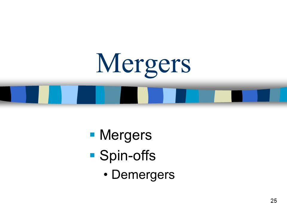 25 Mergers  Mergers  Spin-offs Demergers