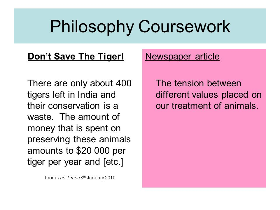 Philosophy Coursework Don't Save The Tiger.