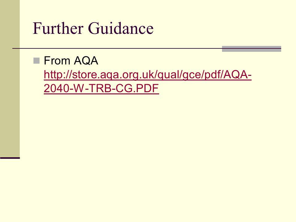 Further Guidance From AQA http://store.aqa.org.uk/qual/gce/pdf/AQA- 2040-W-TRB-CG.PDF http://store.aqa.org.uk/qual/gce/pdf/AQA- 2040-W-TRB-CG.PDF