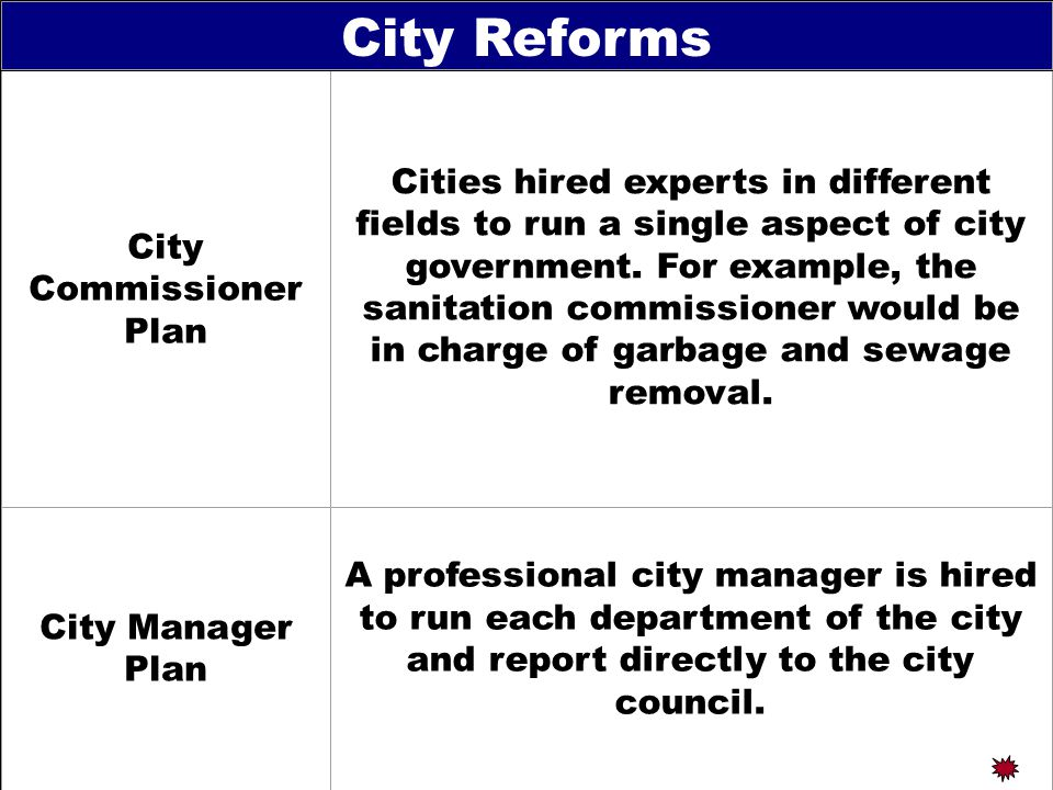 City Commissioner Plan Cities hired experts in different fields to run a single aspect of city government.