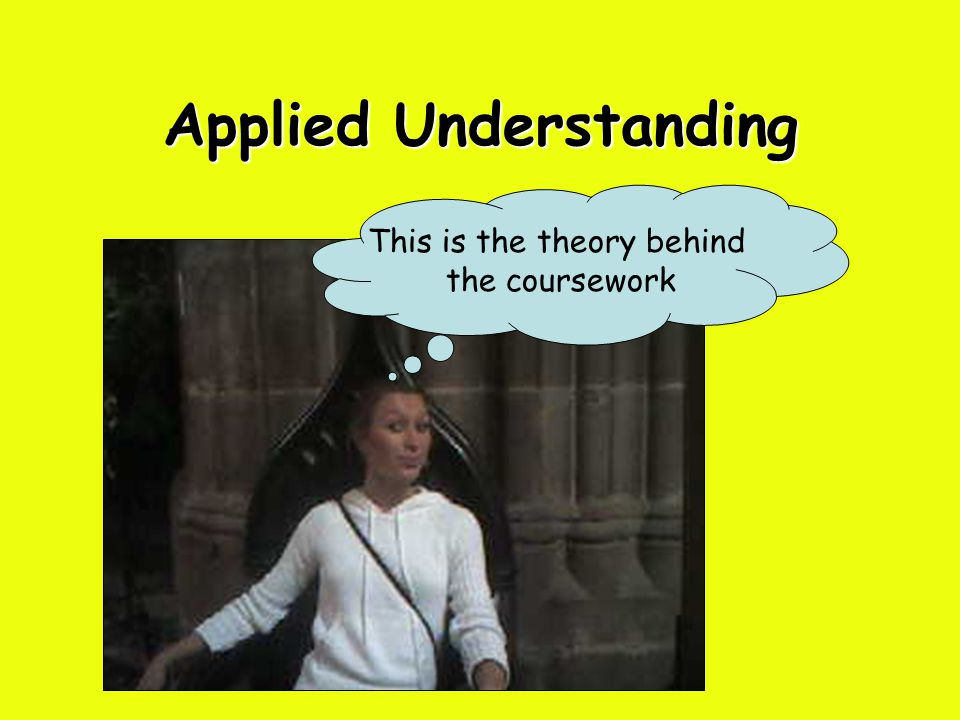 Applied Understanding This is the theory behind the coursework