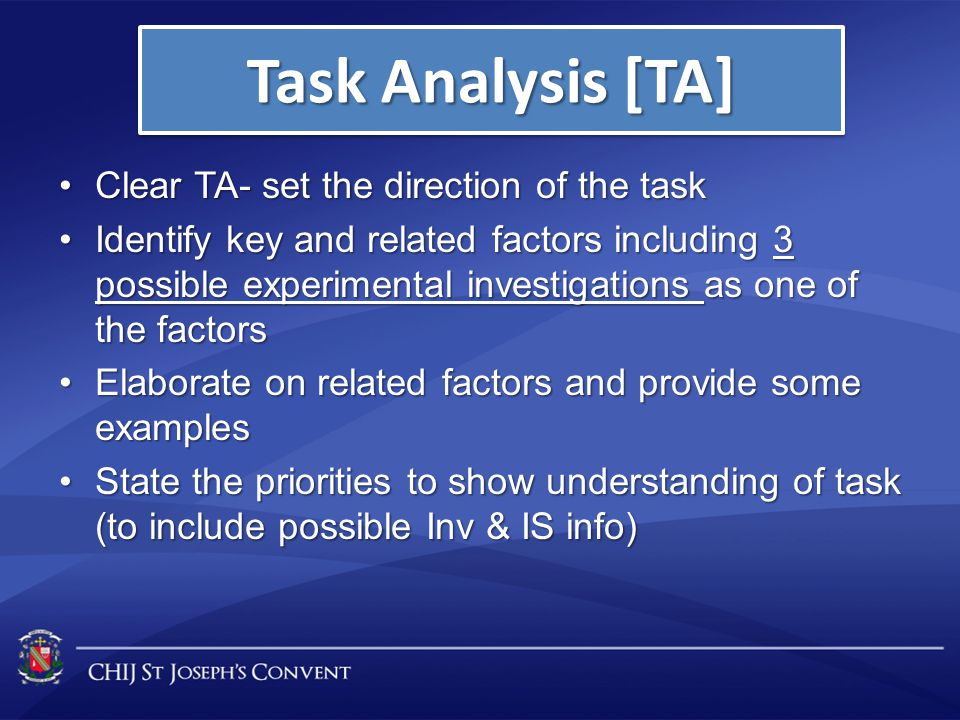 Clear TA- set the direction of the taskClear TA- set the direction of the task Identify key and related factors including 3 possible experimental inve