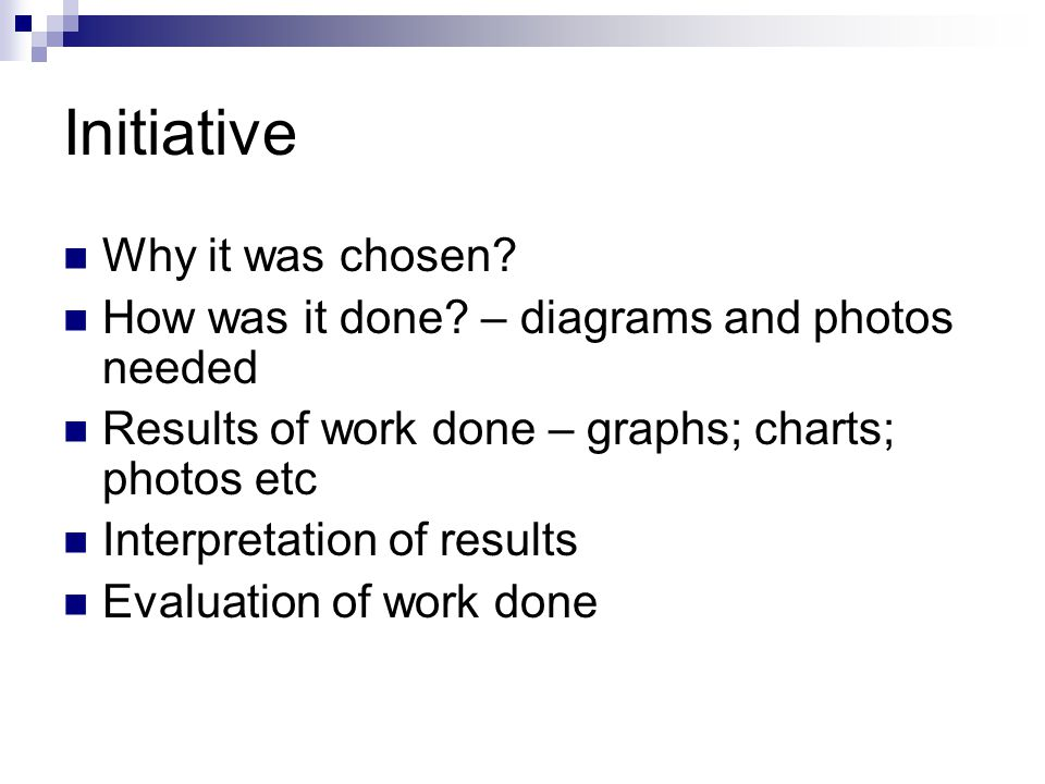 Initiative Why it was chosen? How was it done? – diagrams and photos needed Results of work done – graphs; charts; photos etc Interpretation of result