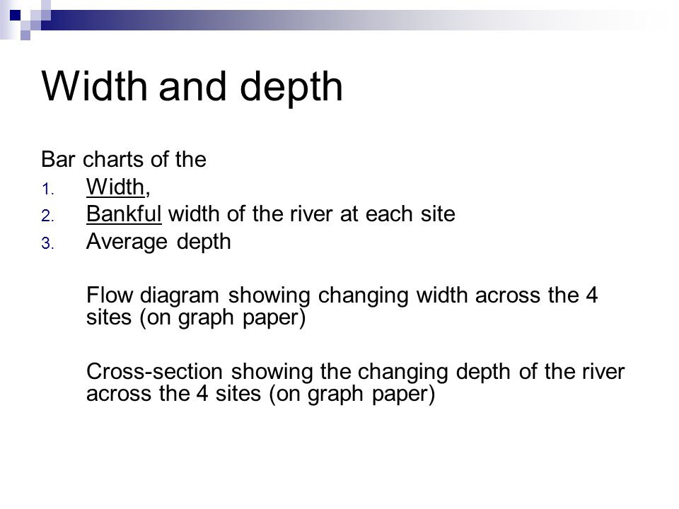 Width and depth Bar charts of the 1. Width, 2. Bankful width of the river at each site 3. Average depth Flow diagram showing changing width across the