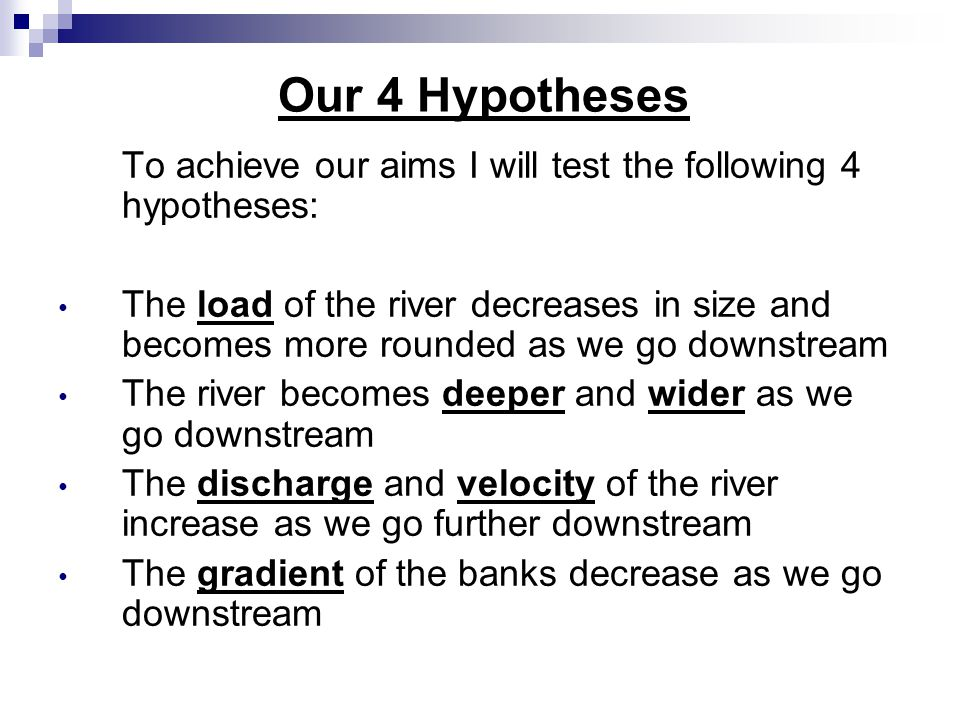 Theory and background River in 3 sections: 1.Upper Course 2.
