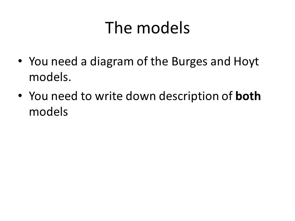 The models You need a diagram of the Burges and Hoyt models.
