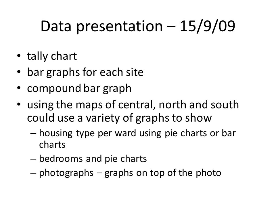 Data presentation – 15/9/09 tally chart bar graphs for each site compound bar graph using the maps of central, north and south could use a variety of graphs to show – housing type per ward using pie charts or bar charts – bedrooms and pie charts – photographs – graphs on top of the photo