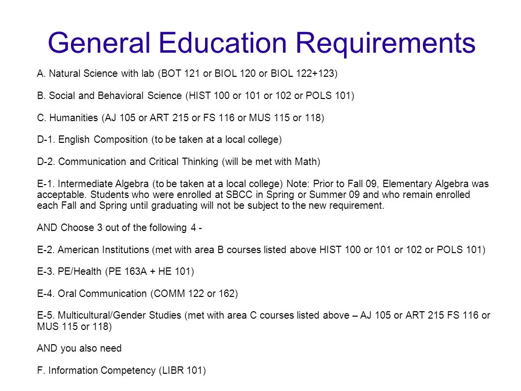 General Education Requirements A. Natural Science with lab (BOT 121 or BIOL 120 or BIOL 122+123) B. Social and Behavioral Science (HIST 100 or 101 or