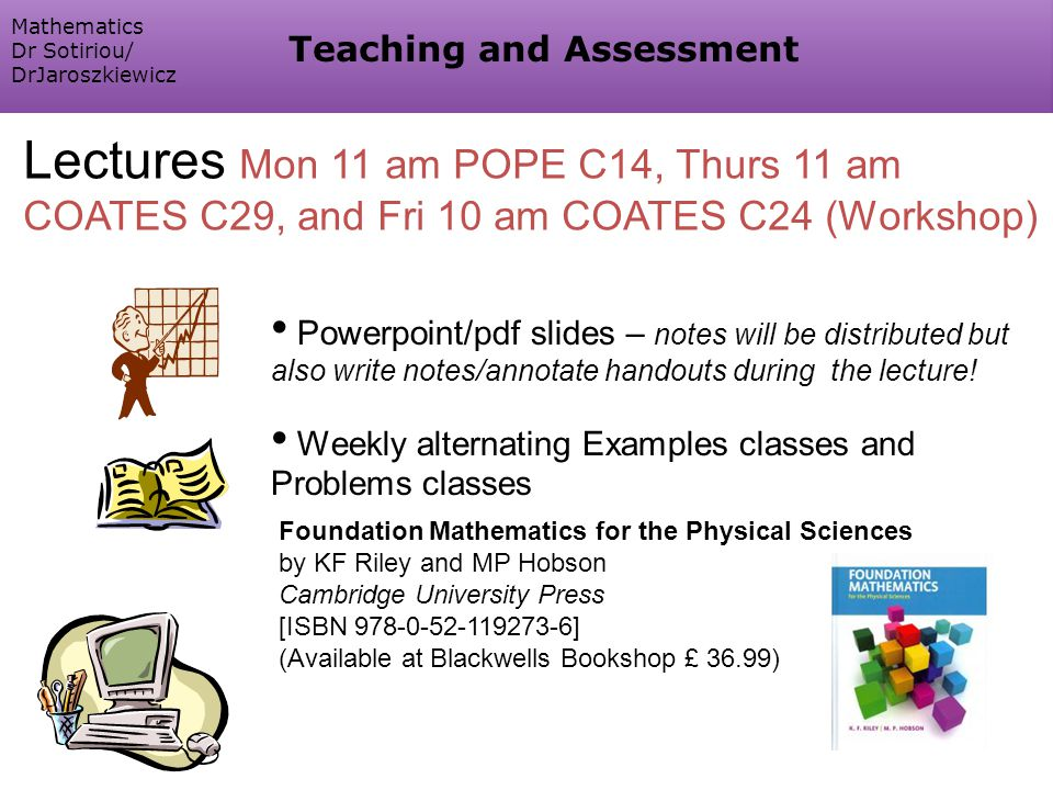 Powerpoint/pdf slides – notes will be distributed but also write notes/annotate handouts during the lecture.