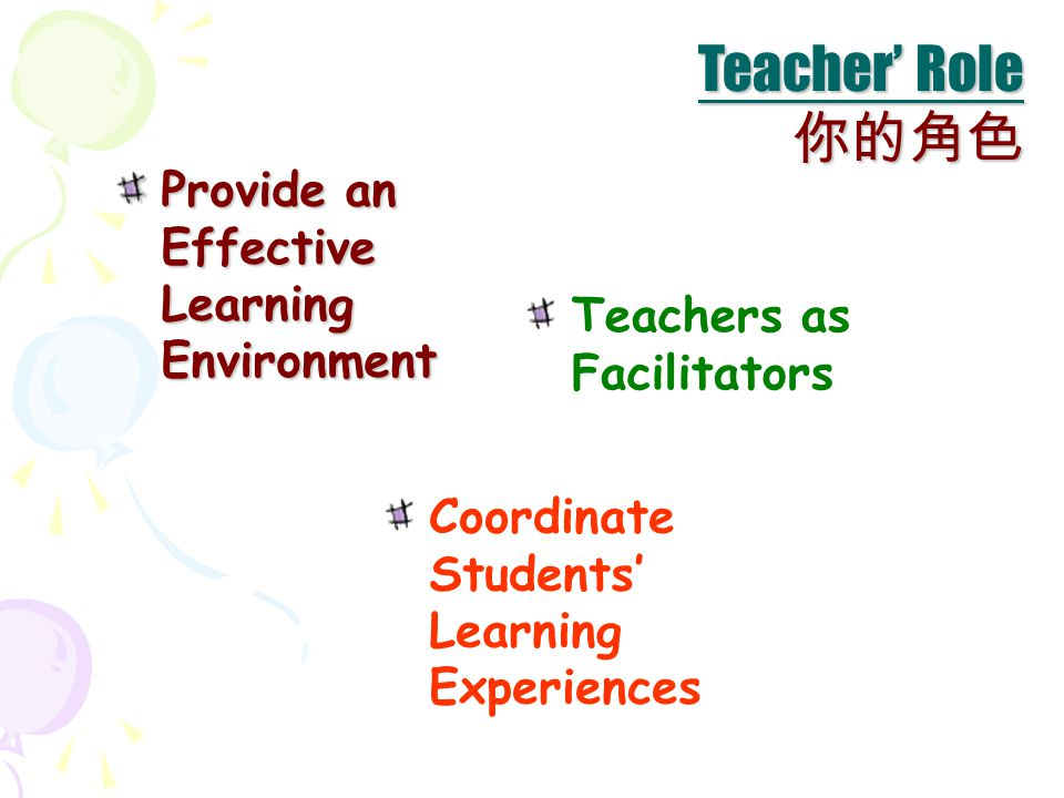 Coordinate Students' Learning Experiences Teachers as Facilitators Teacher' Role 你的角色 Provide an Effective Learning Environment