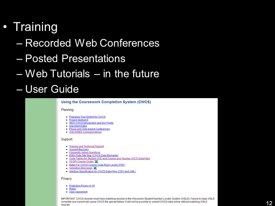 Training –Recorded Web Conferences –Posted Presentations –Web Tutorials – in the future –User Guide 12