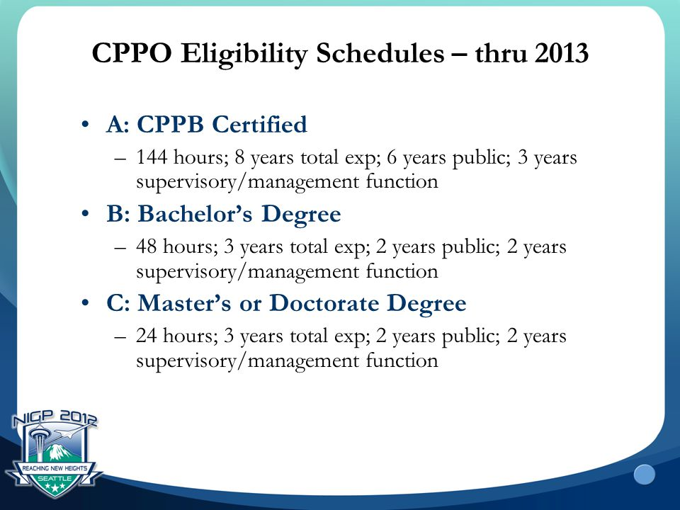 CPPO Eligibility Schedules – thru 2013 A: CPPB Certified –144 hours; 8 years total exp; 6 years public; 3 years supervisory/management function B: Bac
