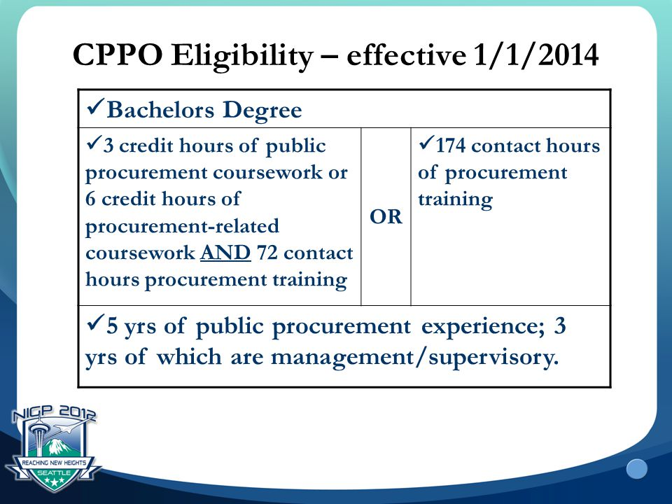 CPPO Eligibility – effective 1/1/2014 Bachelors Degree 3 credit hours of public procurement coursework or 6 credit hours of procurement-related course