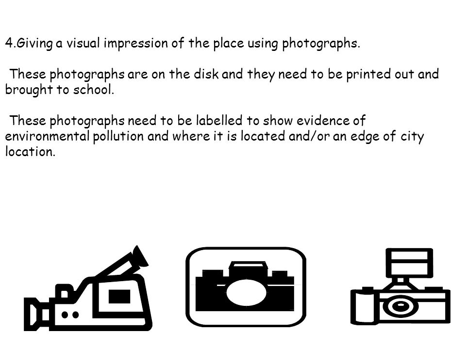 4.Giving a visual impression of the place using photographs.