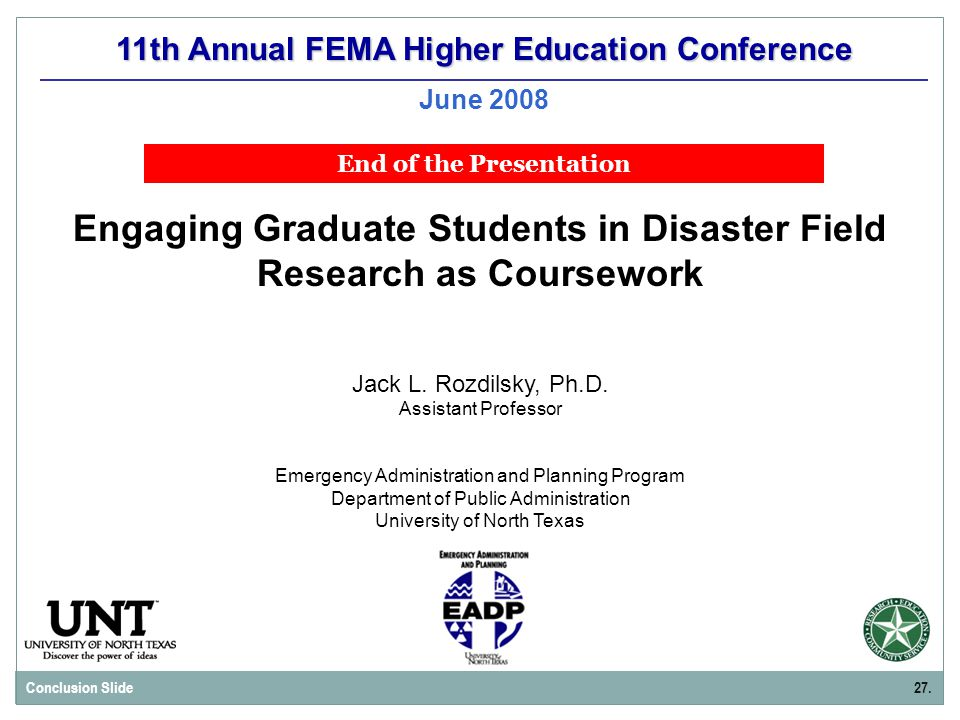 11th Annual FEMA Higher Education Conference June 2008 Jack L.