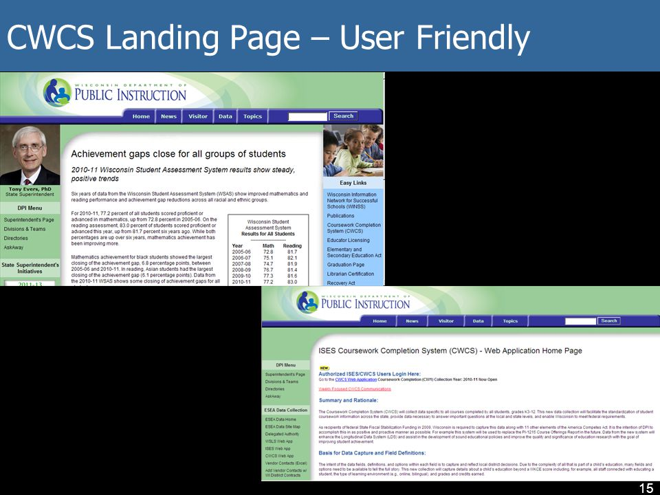 CWCS Landing Page – User Friendly 15