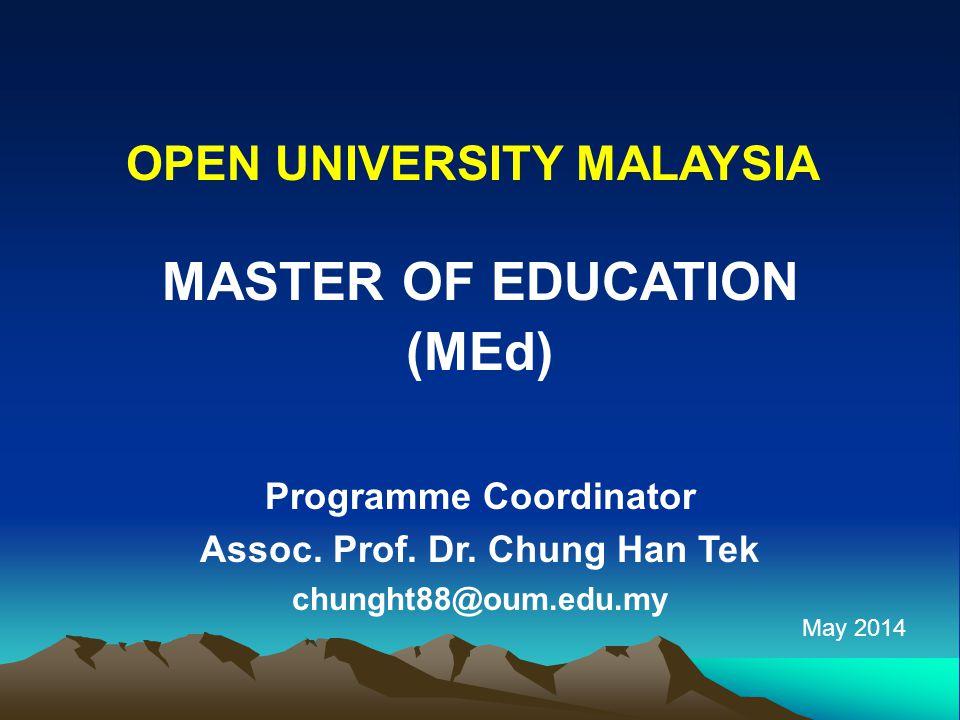 MASTER OF EDUCATION (MEd) Programme Coordinator Assoc.
