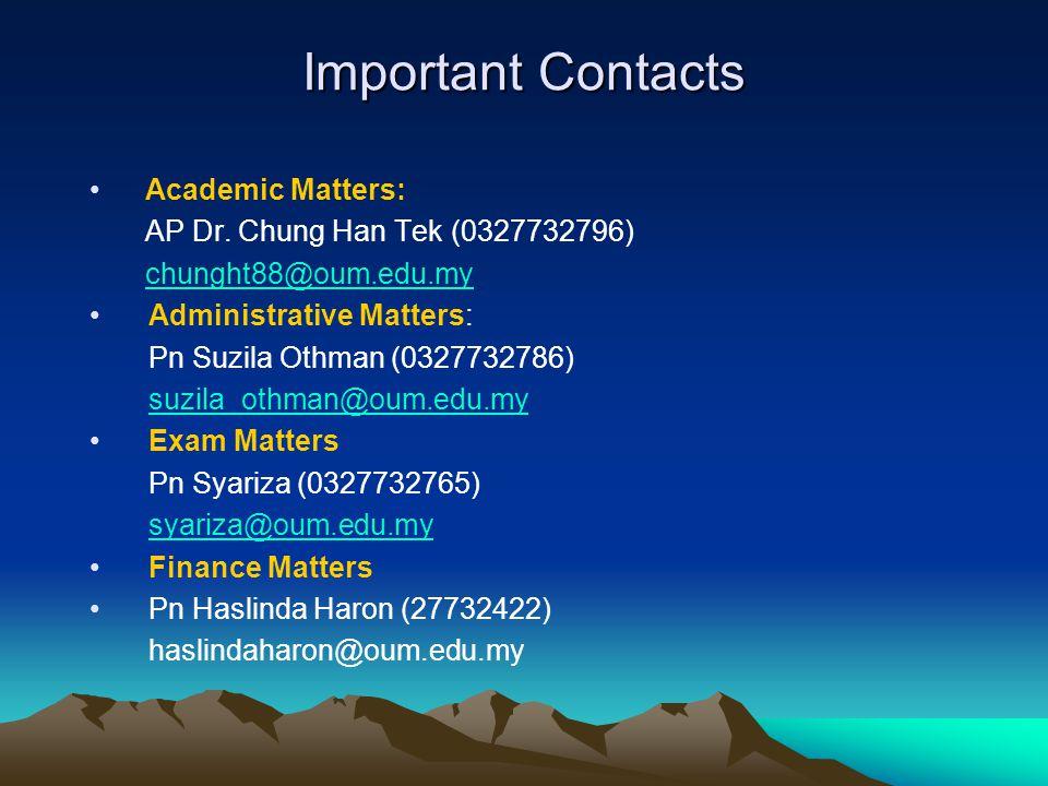 Important Contacts Academic Matters: AP Dr.