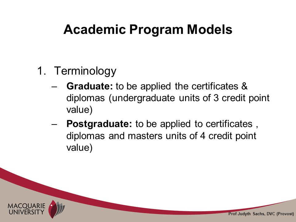 Prof Judyth Sachs, DVC (Provost) Academic Program Models 2.Structure and Shape –Duration of qualification (i.e.