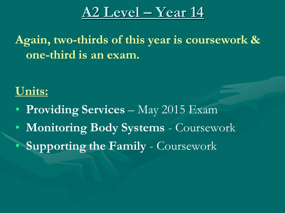 A2 Level – Year 14 Again, two-thirds of this year is coursework & one-third is an exam. Units: Providing Services – May 2015 Exam Monitoring Body Syst