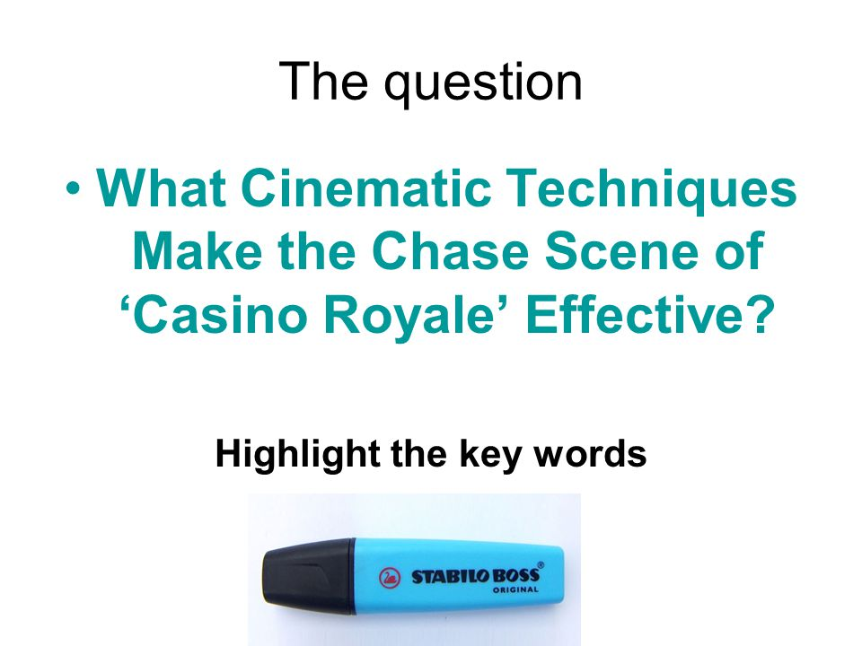 The question What Cinematic Techniques Make the Chase Scene of 'Casino Royale' Effective.