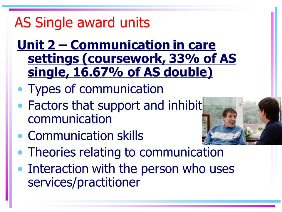 AS Single award units Unit 2 – Communication in care settings (coursework, 33% of AS single, 16.67% of AS double) Types of communication Factors that support and inhibit communication Communication skills Theories relating to communication Interaction with the person who uses services/practitioner