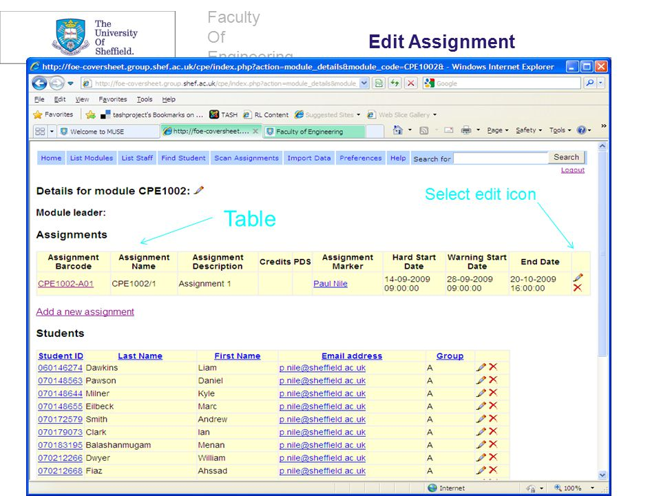 Faculty Of Engineering. Select edit icon Table Edit Assignment