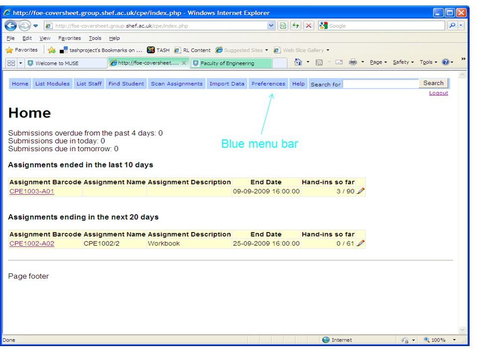 Faculty Of Engineering. Blue menu bar