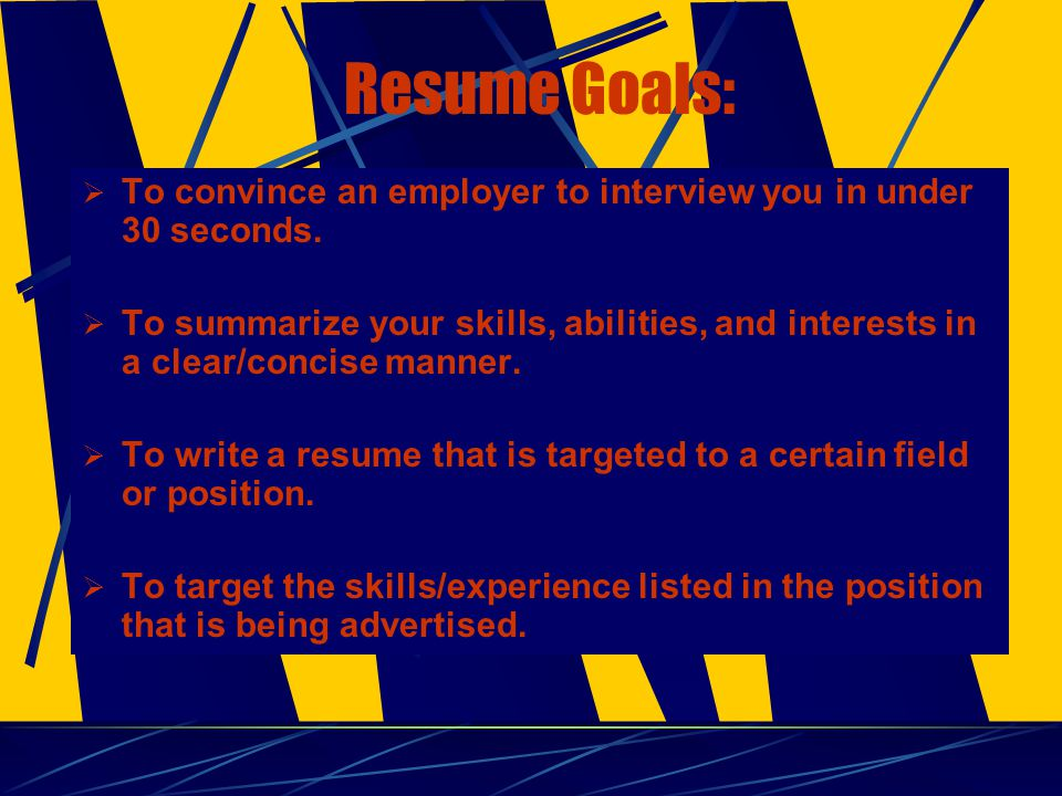 Resume Checklist  Length: (Depends on Industry) - One page for recent graduates - Two for experienced candidates  Layout/Appearance: (Professional) - Neat, concise, easy to read, - Balance of text and white space - Use of bolds, underlines, different fonts (standard) - Absolutely NO spelling/grammar errors  Content: (Dynamic, Persuasive) - Action-oriented verbs, emphasize skills - Grammar, present/past tense - Lead w/ strengths/accomplishments