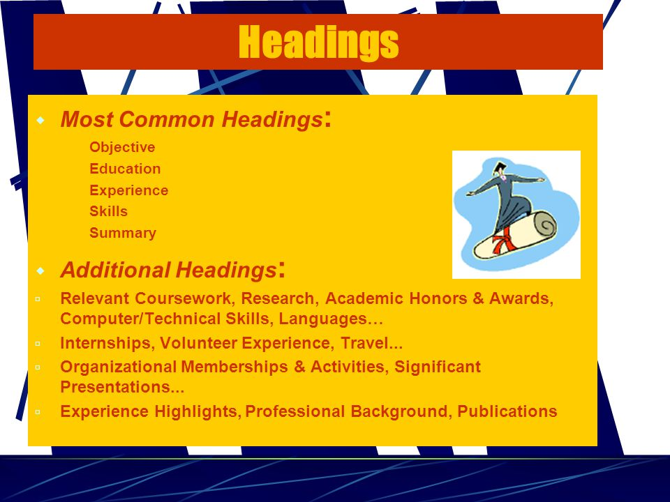 Headings  Most Common Headings : - Objective - Education - Experience - Skills - Summary  Additional Headings :  Relevant Coursework, Research, Academic Honors & Awards, Computer/Technical Skills, Languages…  Internships, Volunteer Experience, Travel...
