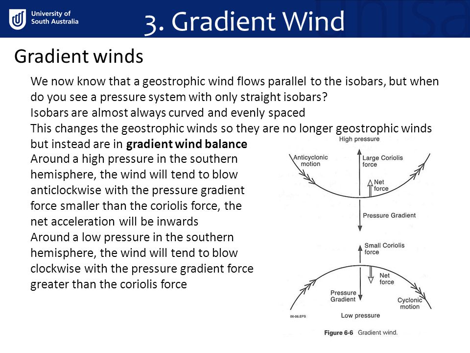 3. Gradient Wind Gradient winds We now know that a geostrophic wind flows parallel to the isobars, but when do you see a pressure system with only str
