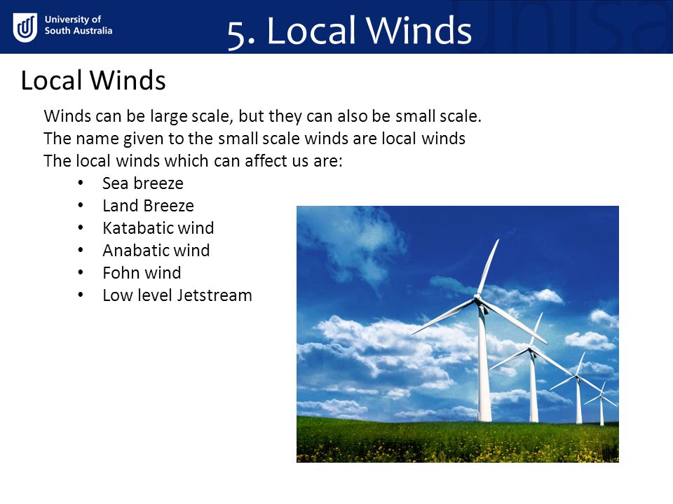 5. Local Winds Local Winds Winds can be large scale, but they can also be small scale. The name given to the small scale winds are local winds The loc