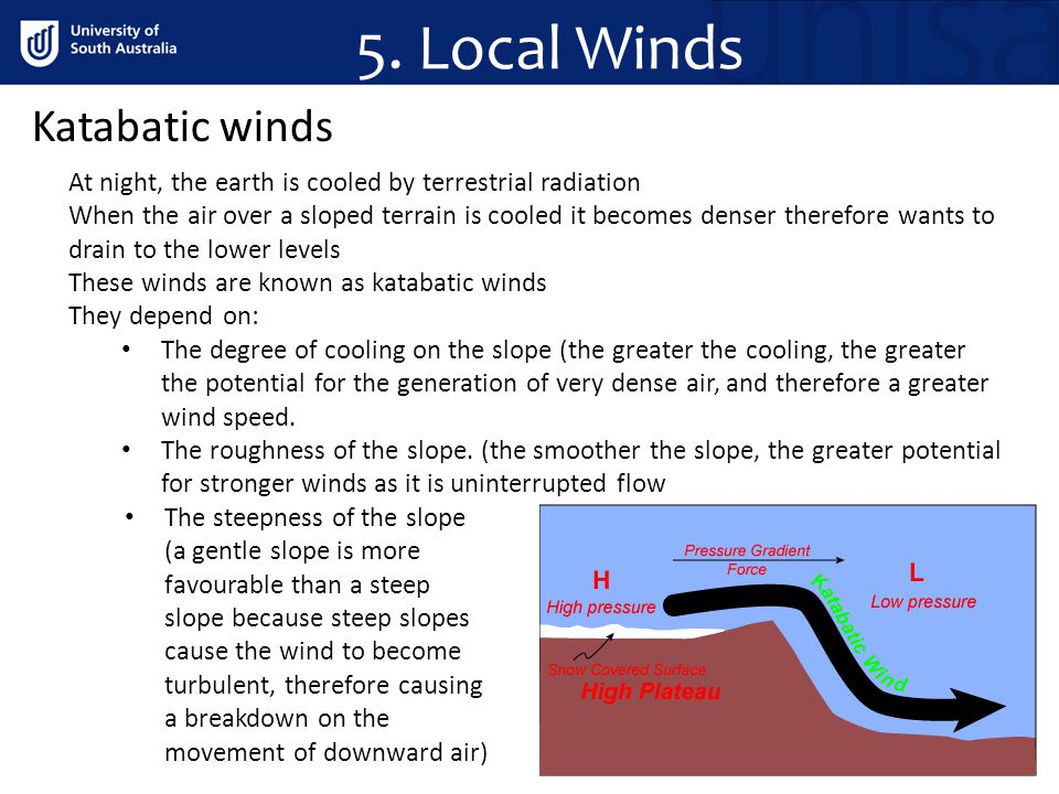 5. Local Winds Katabatic winds At night, the earth is cooled by terrestrial radiation When the air over a sloped terrain is cooled it becomes denser t