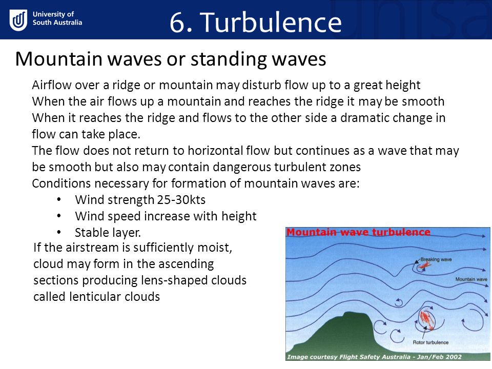 6. Turbulence Mountain waves or standing waves Airflow over a ridge or mountain may disturb flow up to a great height When the air flows up a mountain