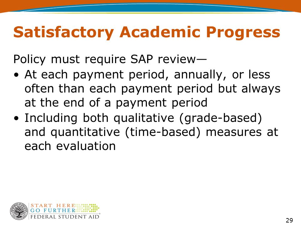Satisfactory Academic Progress Policy must require SAP review— At each payment period, annually, or less often than each payment period but always at the end of a payment period Including both qualitative (grade-based) and quantitative (time-based) measures at each evaluation 29