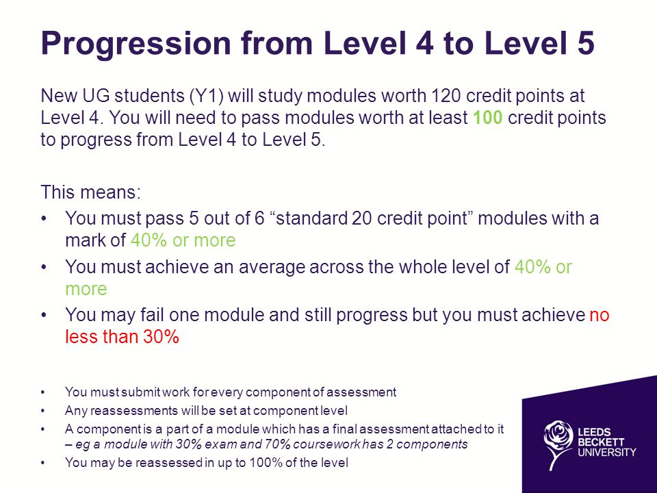 Progression from Level 4 to Level 5 New UG students (Y1) will study modules worth 120 credit points at Level 4.