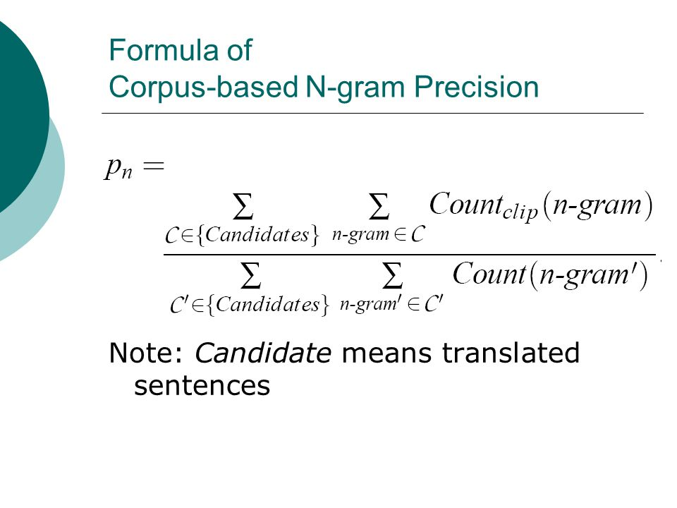 Formula of Corpus-based N-gram Precision Note: Candidate means translated sentences