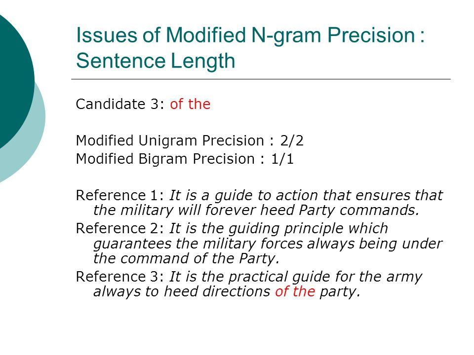 Issues of Modified N-gram Precision : Sentence Length Candidate 3: of the Modified Unigram Precision : 2/2 Modified Bigram Precision : 1/1 Reference 1: It is a guide to action that ensures that the military will forever heed Party commands.