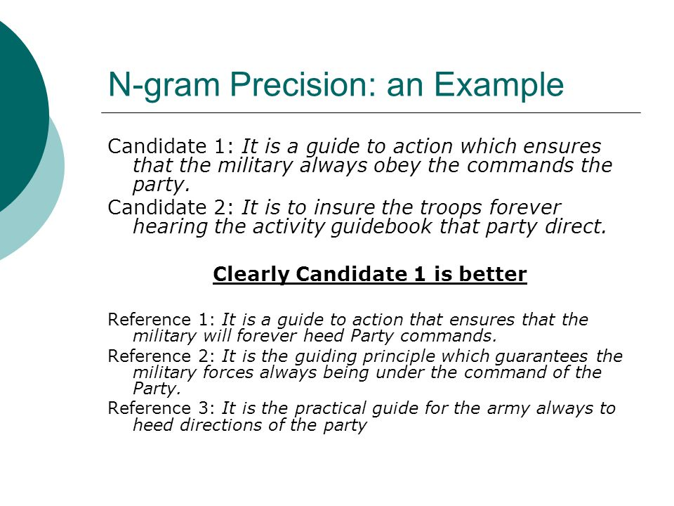 N-gram Precision: an Example Candidate 1: It is a guide to action which ensures that the military always obey the commands the party.