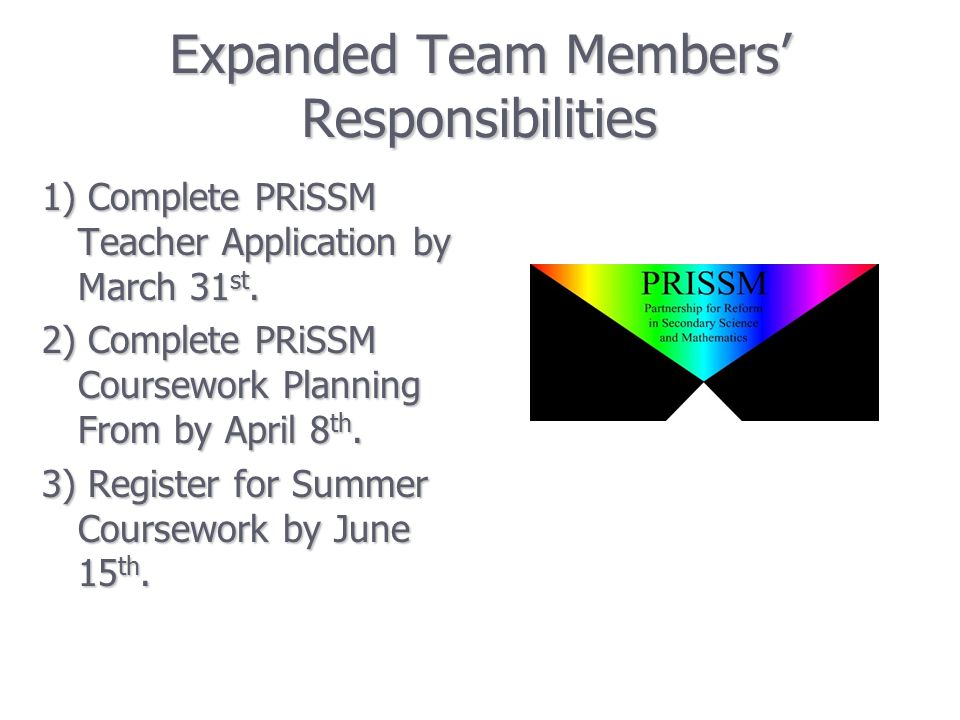 Expanded Team Members' Responsibilities 1) Complete PRiSSM Teacher Application by March 31 st.