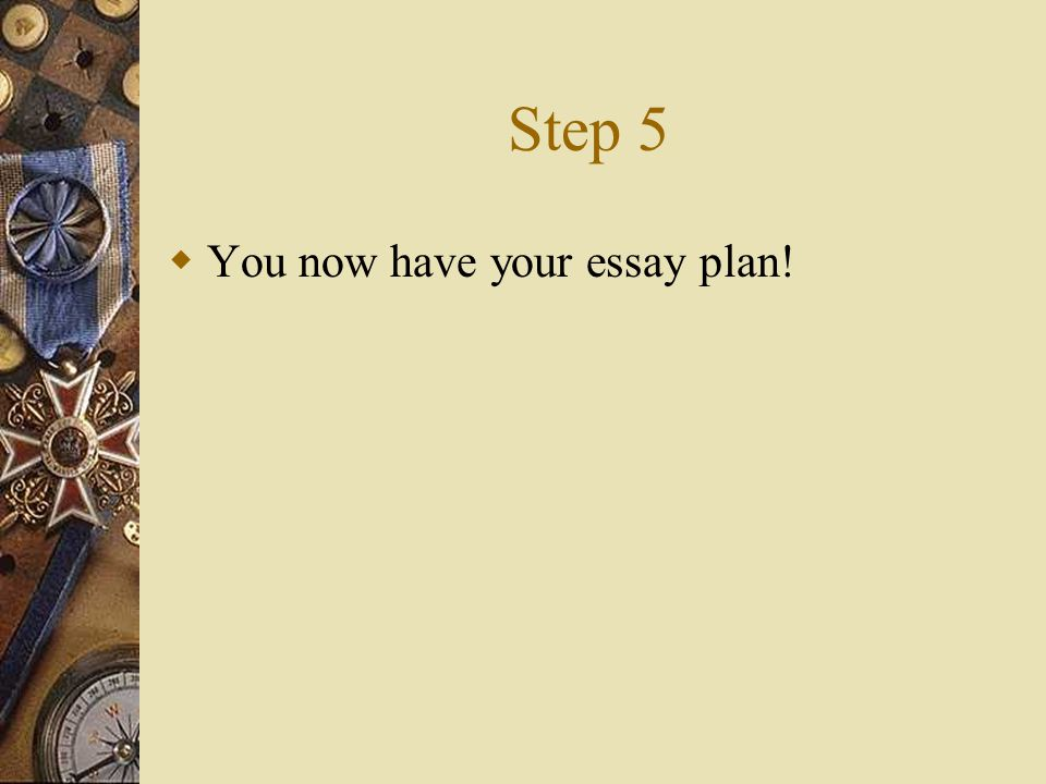 Step 5  You now have your essay plan!