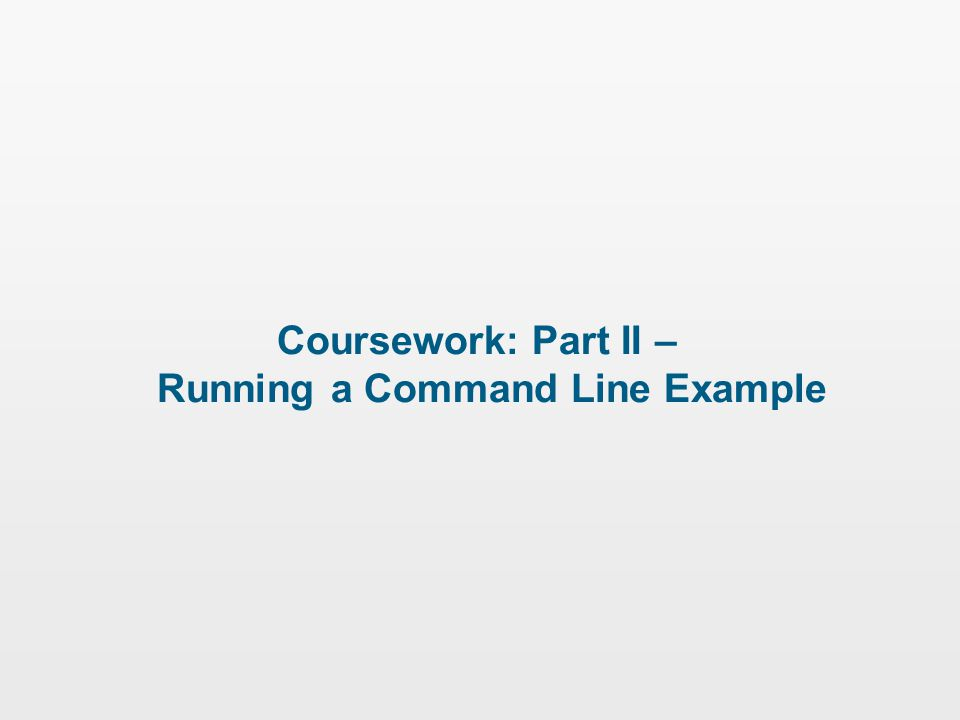 Coursework: Part II – Running a Command Line Example