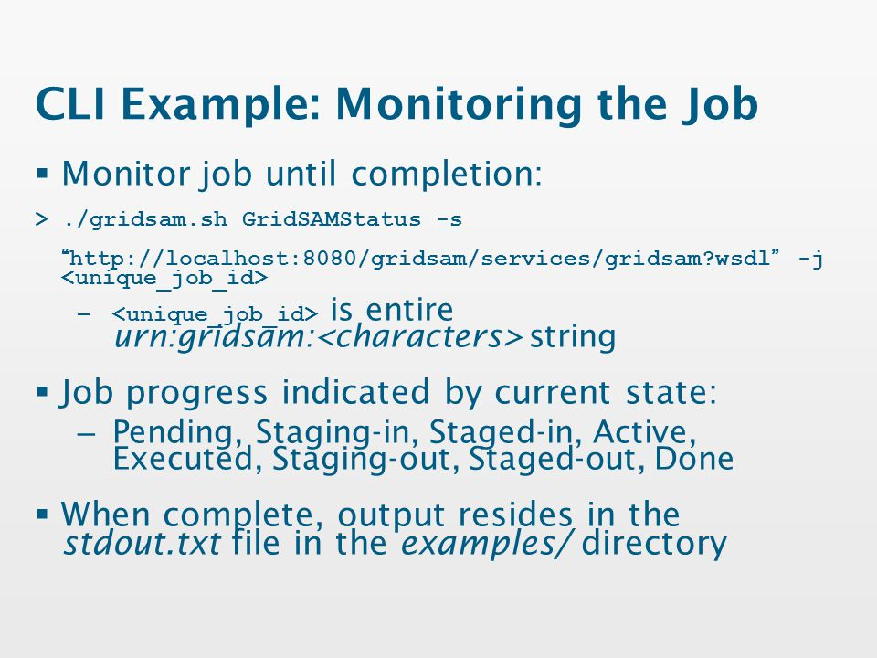 CLI Example: Monitoring the Job  Monitor job until completion: >./gridsam.sh GridSAMStatus -s http://localhost:8080/gridsam/services/gridsam wsdl -j – is entire urn:gridsam: string  Job progress indicated by current state: – Pending, Staging-in, Staged-in, Active, Executed, Staging-out, Staged-out, Done  When complete, output resides in the stdout.txt file in the examples/ directory