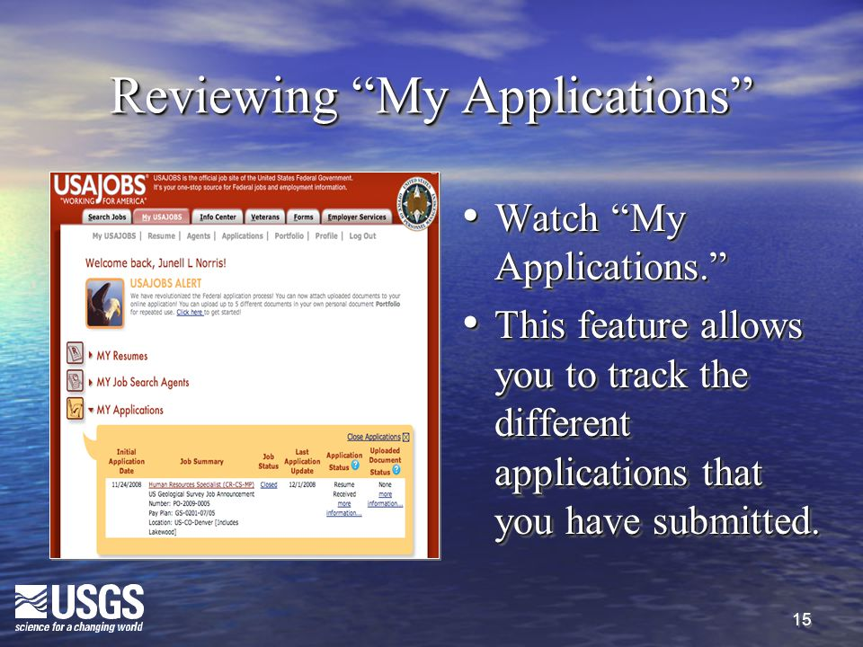 """15 Reviewing """"My Applications"""" Watch """"My Applications."""" Watch """"My Applications."""" This feature allows you to track the different applications that you"""