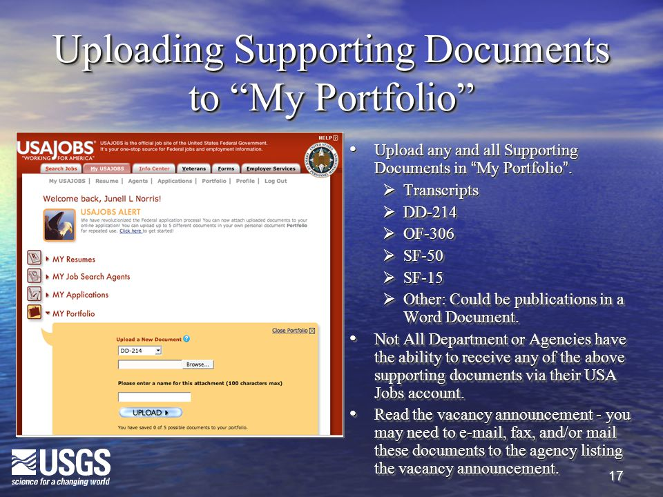 17 Uploading Supporting Documents to My Portfolio Upload any and all Supporting Documents in My Portfolio .