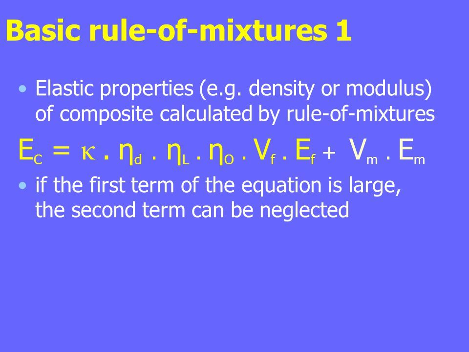 Basic rule-of-mixtures 1 Elastic properties (e.g. density or modulus) of composite calculated by rule-of-mixtures E C = κ. η d. η L. η O. V f. E f + V
